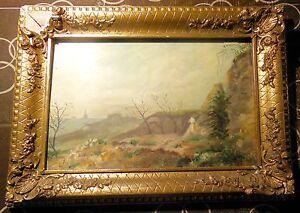 """Consciencieux A.hervÉ -tableau Impressionniste (xix-xx°s.) """" Paysage """" Huile Sur Bois"""