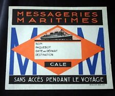 Vintage MESSAGERIES MARITIMES Luggage Label NOS Unused