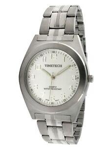 Men-039-s-Steel-Silver-Dial-Bracelet-Watch-by-Timetech