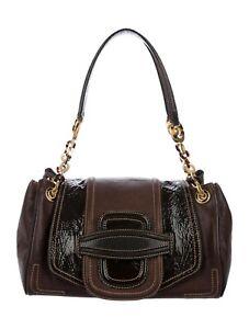 2600-Oscar-de-la-Renta-Chocolate-Brown-Leather-Shoulder-Hand-Bag-ITALY-Auth