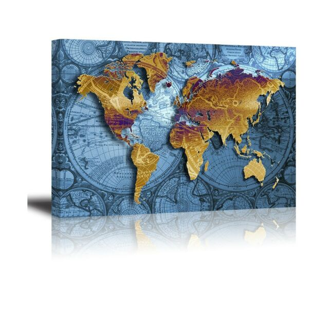 PIY World Map Canvas Prints Wall Art Paintings 16