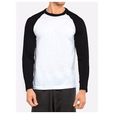 Men's Long Sleeve Baseball T-Shirt Raglan Jersey Casual Tee Fashion Crew Neck T