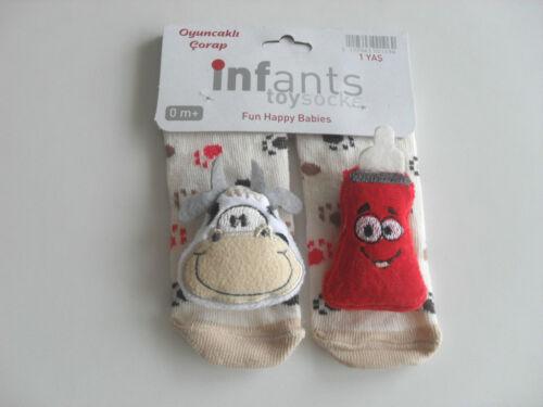 Baby Söckchen Socken Erstlingsöckchen mit 3D Motiv Tiere Jungen Kuh Löwe Fisch