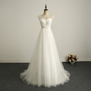 In Stock Beading Ivory Chiffon Lace Wedding Dress Bridal Gown US ...