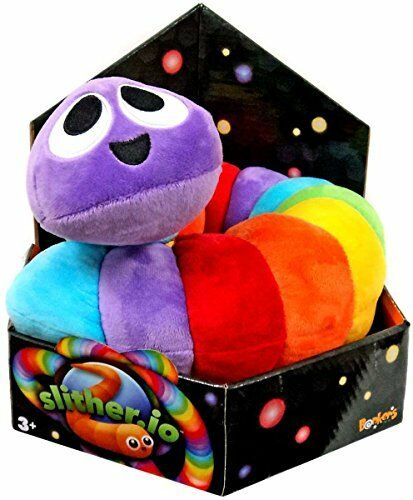 """Rainbow color Slither.io Jumbo 24/"""" Bendable Plush Toy in box"""