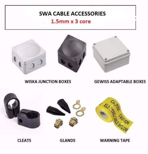 1.5MM 3 CORE SWA CABLE ACCESSORIES GLANDS CLEATS ADAPT // WISKA IP65 BOXES