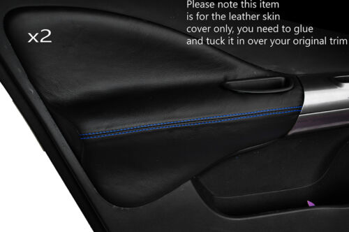 BLUE STITCH 2X FRONT DOOR CARD TRIM LEATHER SKIN COVERS FITS NISSAN JUKE 10-15