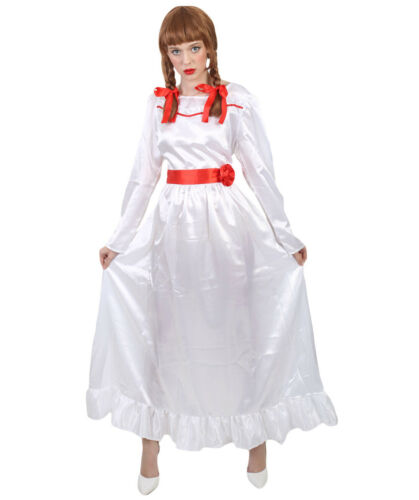 Adult Bundle White Dress Brown Wig for Cosplay Movie Annabelle HC-314 HW-1094