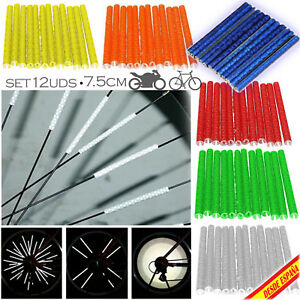 12 Tubos Tiras Reflectantes Fluorescentes Adhesivas Radio Rueda Bici Bike Spoke
