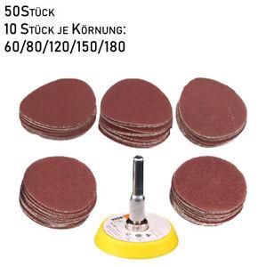50-Stueck-Schleifscheiben-50mm-Klett-Schleifteller-Polierteller-Gewinde-M6-x-1