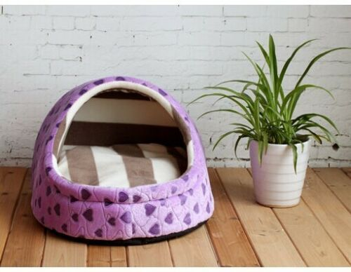 New Sweet Half Covered Pet Dog Cat Tent House Bed Types Small,Medium 6colors
