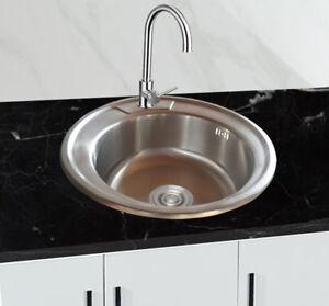 Dettagli su Acciaio Inox 304 Lavello Cucina Incasso Tondo 1 Piscina 49x49 Cm