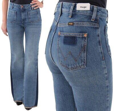 Wrangler Damen Jeanshose Retro Flare Burning Girl Glockenhosen Blau W27 W29