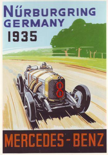 1935 Mercedes Benz Motor Racing Poster A3 Reprint