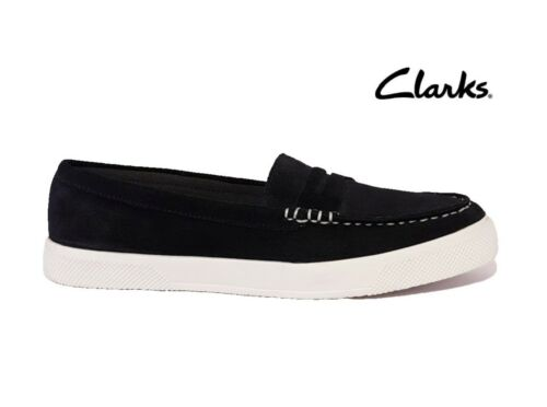 CLARKS GRAYS LAKE JOY RRP£59 NAVY BLUE SUEDE LEATHER DECK SHOES LOAFERS PUMPS