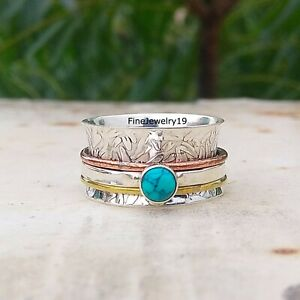 Turquoise-925-Sterling-Silver-Spinner-Ring-Meditation-Statement-Jewelry-A46