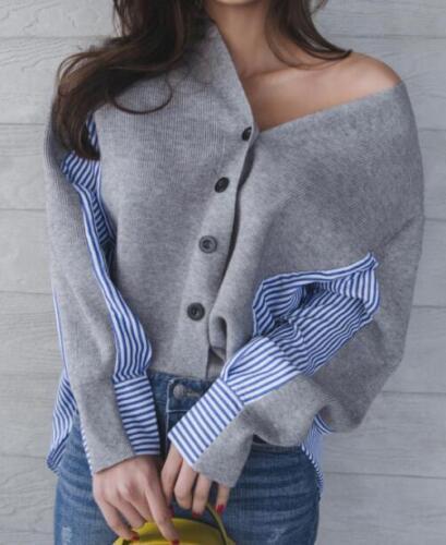 in maglione a Cappotto Top Cardigan righe Camicia V donna scollo a maglia Capispalla miste N qpw7Iwf