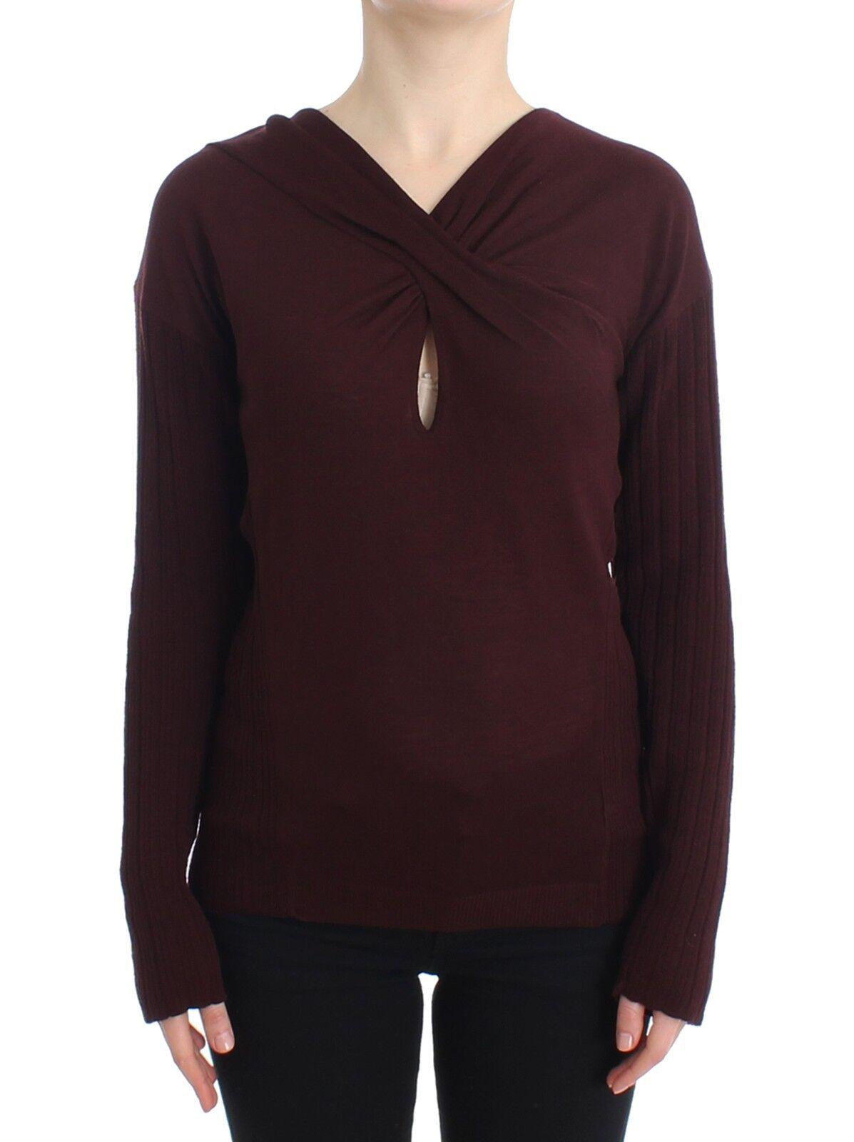 NWT  CLASS ROBERTO CAVALLI Brown Jumper Sweater Keyhole Knit IT42 US8