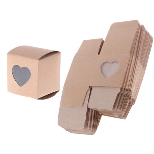 50x Kraft Paper Gift Box Candy Cookies Party Wedding Brown Hearts Window Box