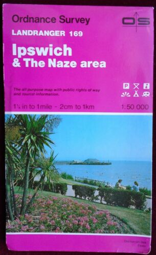 1 of 1 - OS 1990 LANDRANGER 169 PAPER MAP of IPSWICH & THE NAZE AREA 1:50 000