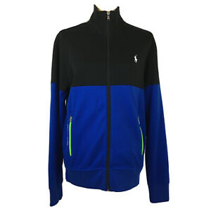 Polo-Ralph-Lauren-Performance-Full-Zip-Jacket-Black-Cobalt-Blue-Cotton-Women-039-s-S