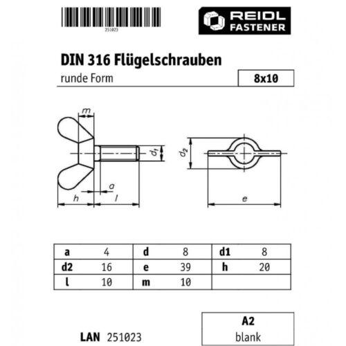 10x DIN 316 Flügelschrauben M 8 x 10 runde Form A2 blank