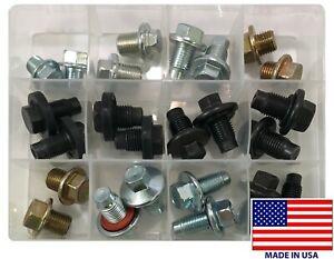 24 Piece Oil Drain Plug Assortment Kit - Top 12 Most Popular Sizes - USA Made