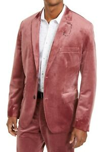 INC Mens Blazer Pink Size Large L Two-Button Slim Fit Velvet Notched $149 #003