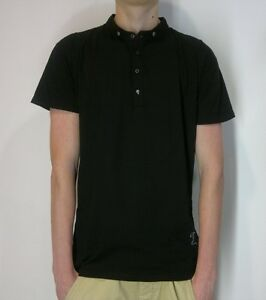 RELIGION-Grandad-Collar-Polo-T-Shirt-With-Skull-Buttons-in-Black-Now-25