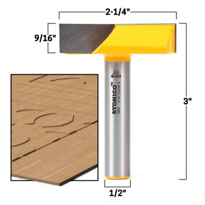 """2-1/4"""" Diameter Bottom Cleaning Router Bit - 1/2"""" Shank - Yonico 14872"""