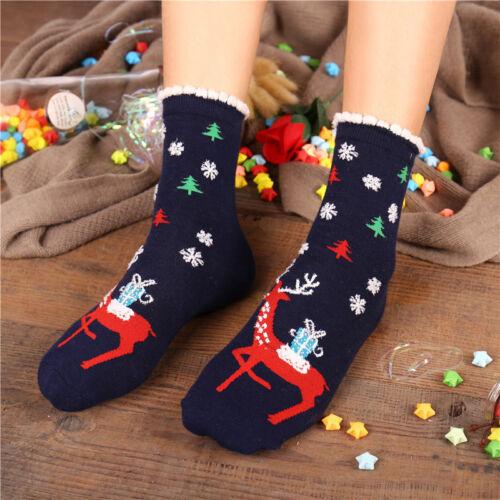 Newly Unisex Christmas Santa Claus Elk Deer Sock Xmas Winter Cotton Socks Gift