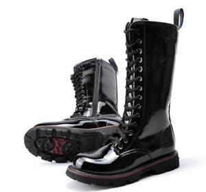 Stivali in pelle di punk combattimento da alti pelle combattimento pelle in da in da motociclista serpente rORrqxI4