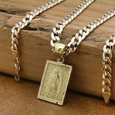 """H Mens 18k Gold Plated  Mexican Color  Guadalupe Pendant 6mm 24/"""" Cuban Chain"""