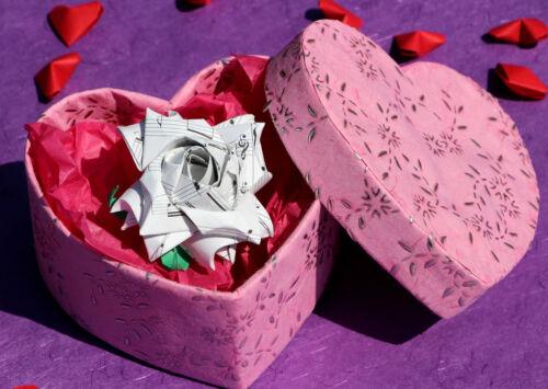 Origami rose brooch - 1st 4th wedding anniversary gift, birthday present