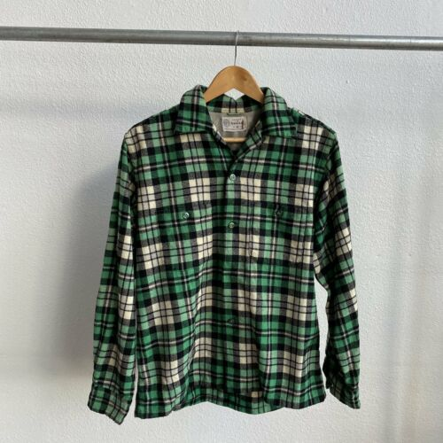 1950's Penneys Towncraft Green Flannel - Medium