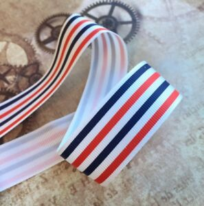 3 meters grosgrain blue and red spotty ribbon 25 mm