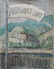 """""""EXPO ARTISANAT d'ART TOURNON 1961"""" Maquette gouache sur papier entoilée ROUFFIO"""