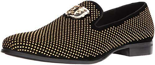 Stacy Adams Swagger Homme cloutées Slip On Mocassins Noir Or 25228-715