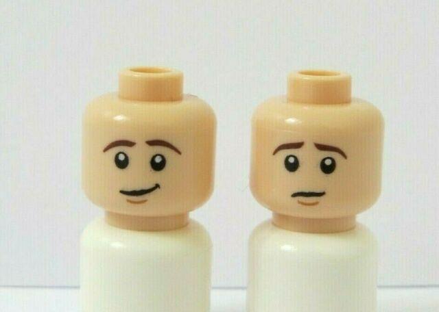 Spare Lego Flesh Minifigure Head With Dual Face X1 Male Guy Boy