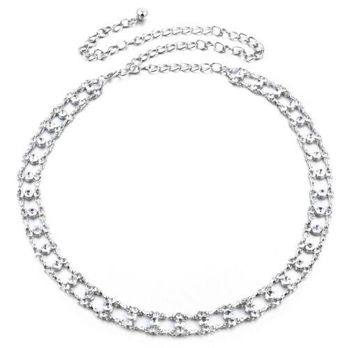 Damen Mädchen Silber Taille Gürtel Strass Kette Verstellbar Mode Strass 284