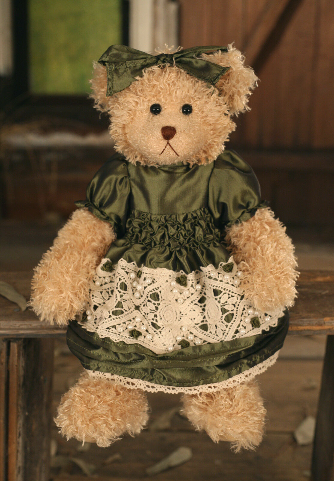 Teddy Bear 'Abbey' Settler Bears Handmade verde Gift Collectable 38cms BRAND NEW