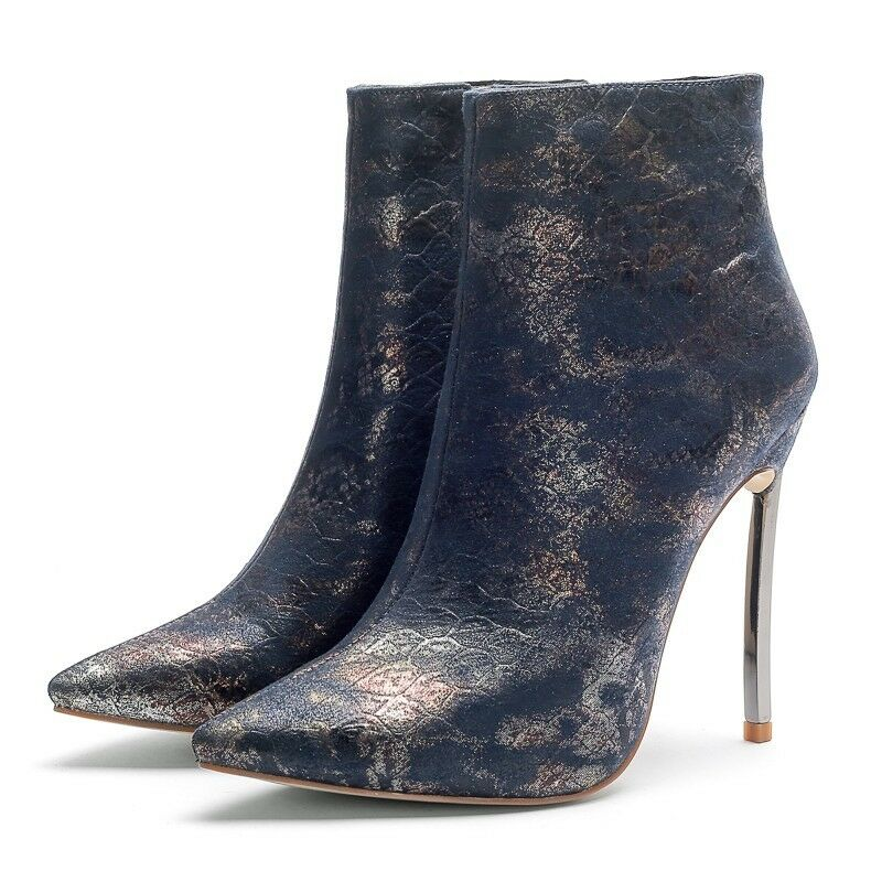 2019 New Womens Pointy Toe Sexy Snakeskin Party Nightclub High Heels Ankle Boot