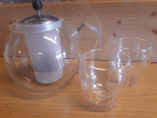 Bodum Assam Tea Set Press Teekanne m.Teesieb 2x dopoelwandige Gläsern NEU OVP