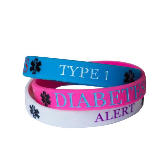 Diabetes Type 1 Médico Pulsera Brazalete de silicona Pulsera conciencia ALERGIA