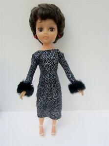 Custom-Slinky-Cocktail-Dress-with-FUR-Trim-fits-14-15-034-Fashion-Doll-Revlon-Toni