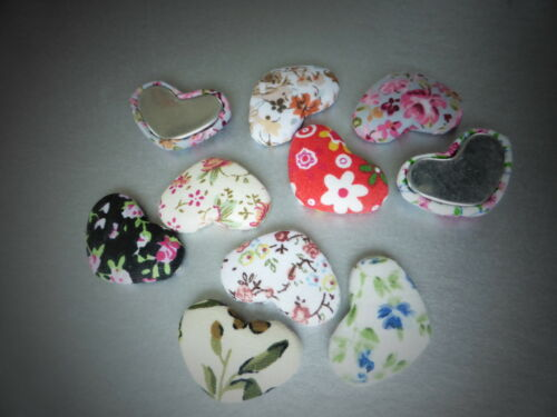 JEWELLERY MAKING FLOWERY CLOTH DESIGN CHOOSE AMOUNT LARGE HEART CABOCHONS