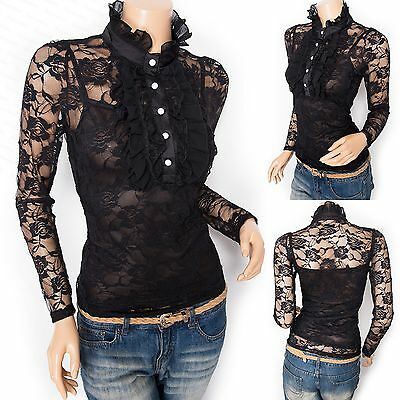 Stunning Victorian Lace Floral Ruffled High Neck Long Sleeves Twinset Blouse