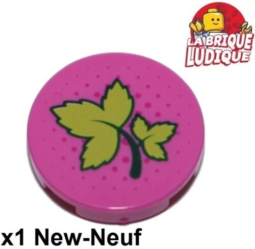 Lego 1x Tile round decorated 2x2 Ivy Leaves sheet pink 14769pb178 41232 NEW