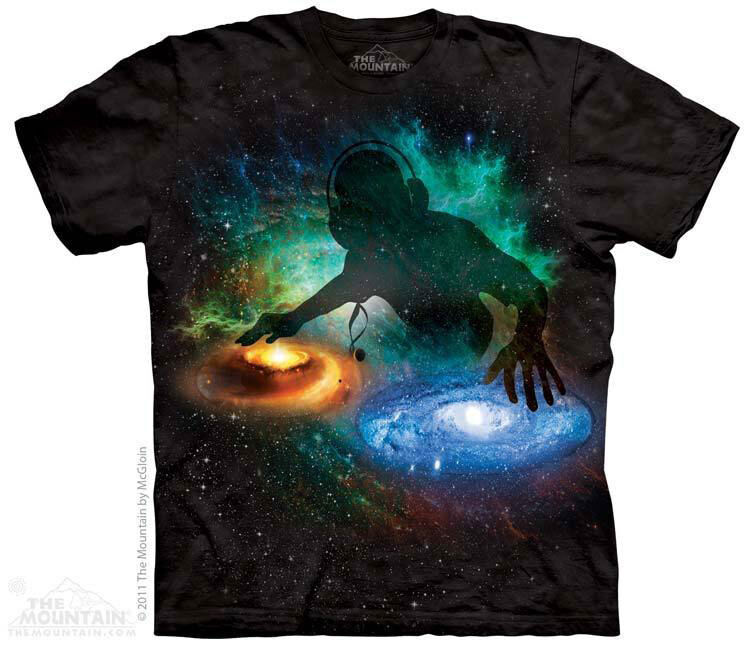 NEW GALAXY DJ Space Universe Headphones The Mountain T Shirt