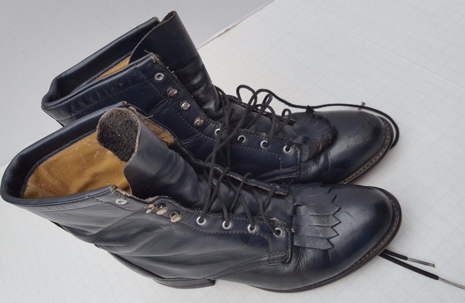 Laredo Black Leather Granny Lace Up Boots Vintage USA Prairie Frontier Kiltie 7